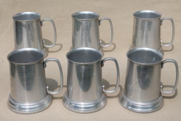 clear bottom beer steins, set of six vintage pewter aluminum tavern mugs