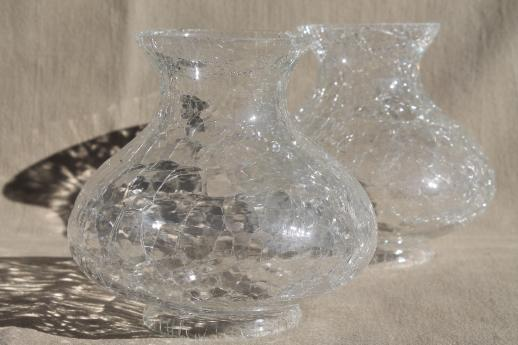 Clear Crackle Glass Light Shades New Old Stock Vintage