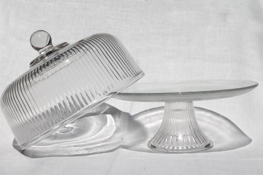 Clear Glass Cake Stand Footed Plate W Ribbed Glass Cover