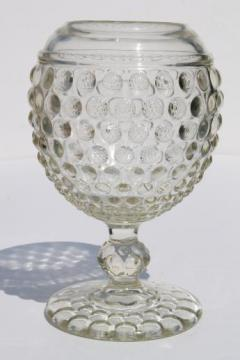 clear hobnail glass ivy ball, vintage Imperial glass flower vase