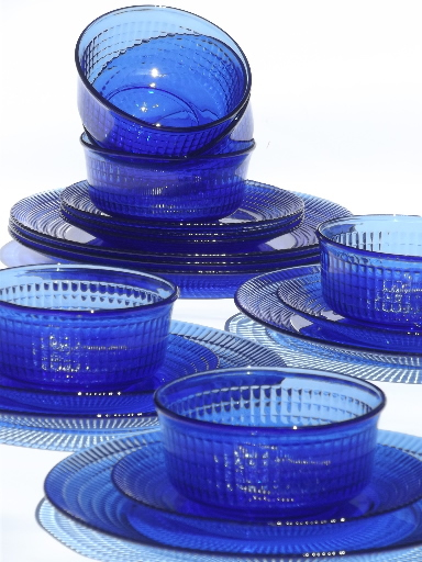 Cobalt Blue Mexican Glass Dishes Set For 6 Crisa Mexico Libbey Glass