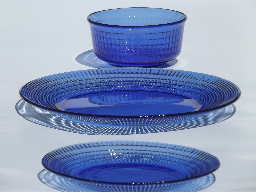cobalt blue Mexican glass dishes set for 6, Crisa Mexico / Libbey glass