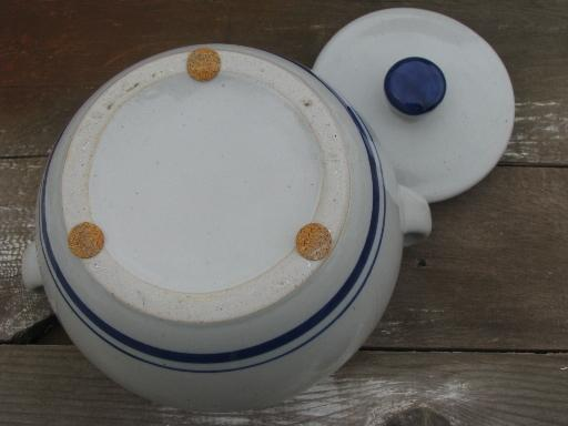 cobalt blue band stoneware pottery bean pot or casserole, vintage Japan