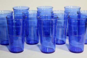 cobalt blue depression glass tumblers, stacked panel ring band pattern drinking glasses