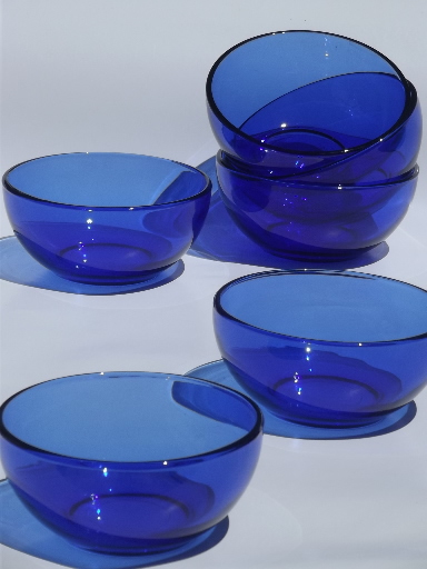 Excellent cobalt blue glass soup / salad bowls, Crisa Mexico / Libbey glass  ST57