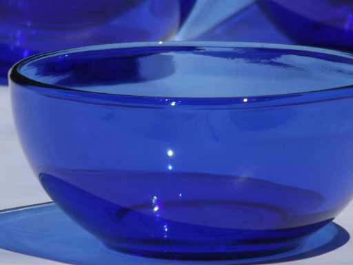 Perfect cobalt blue glass soup / salad bowls, Crisa Mexico / Libbey glass  NE21