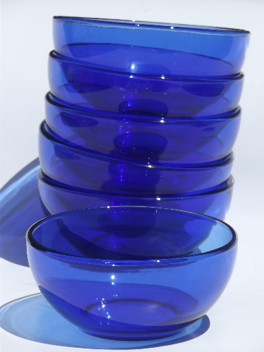 Favorite cobalt blue glass soup / salad bowls, Crisa Mexico / Libbey glass  NP18