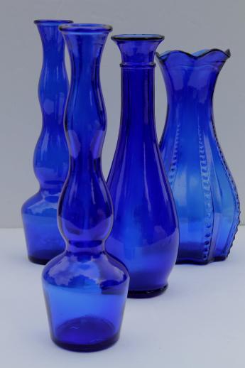 Cobalt Blue Glass Vases Lot Collection Of Vintage Blue