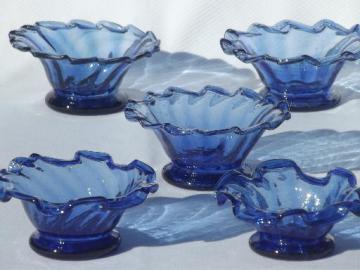 cobalt blue hand-blown glass bowls, vintage Mexican art glass glassware