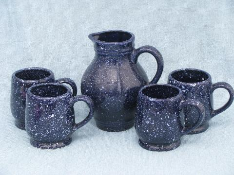 cobalt blue speckle spatterware pottery, faux graniteware dishes