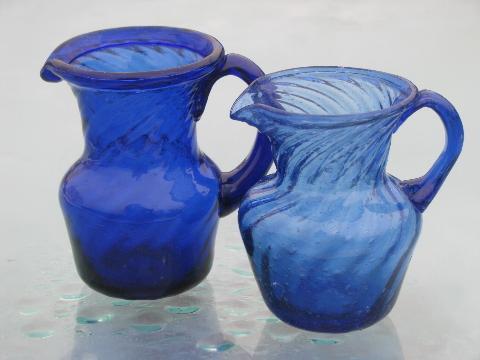 Cobalt Blue Swirl Hand Blown Glass Pitchers Vintage
