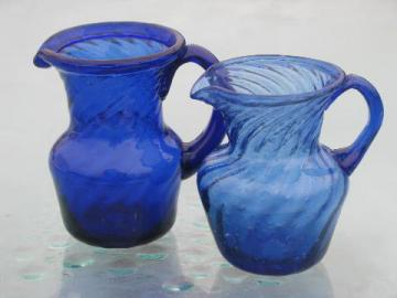 cobalt blue swirl hand-blown glass pitchers, vintage Mexican art glass