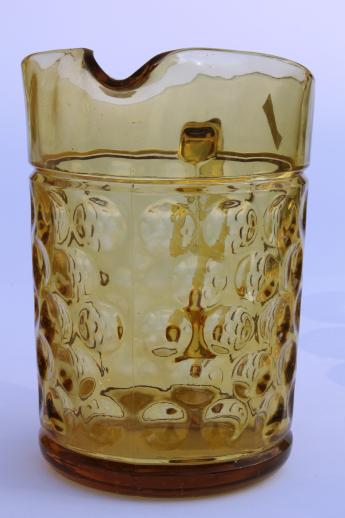 coin spot thumbprint amber glass pitcher & tumblers, vintage Hazel Atlas Americana glassware set