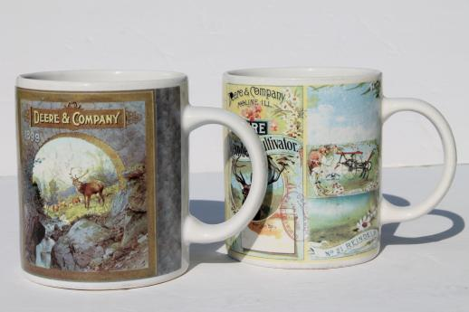 collectible John Deere tractor mugs, Gibson ceramic coffee cups lot