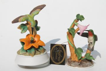 collectible bisque china hummingbirds, vintage music box & hummingbird figurine