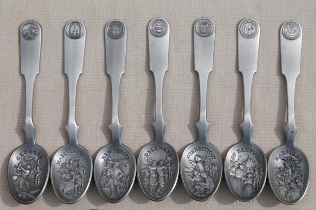 Collectible Pewter Spoons 13 Early American Colonies