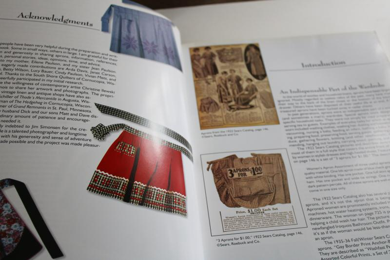 collecting mid-century kitchen aprons, vintage guide color photos out of print reference book
