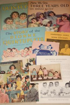 collection Dionne Quintuplets Quints photos, books, vintage paper ephemera lot