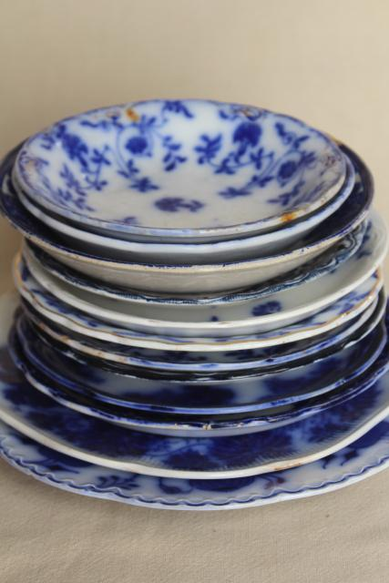 collection antique flow blue china, 12 small plates saucers vintage Staffordshire England