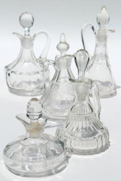 collection of antique cruet bottles, vintage EAPG pressed pattern glass cruets