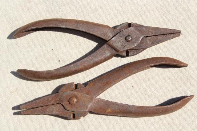 collection of antique pliers, Lodi duckbill Schollhorn w/ parallel jaws vintage tool lot