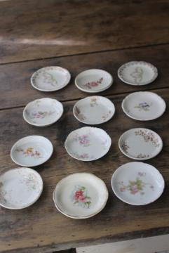 collection of antique vintage china butter pats, shabby tiny plates different patterns