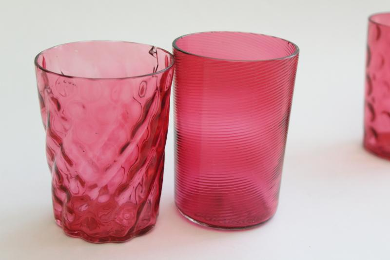 collection of antique & vintage cranberry glass tumblers, amberina shaded glass