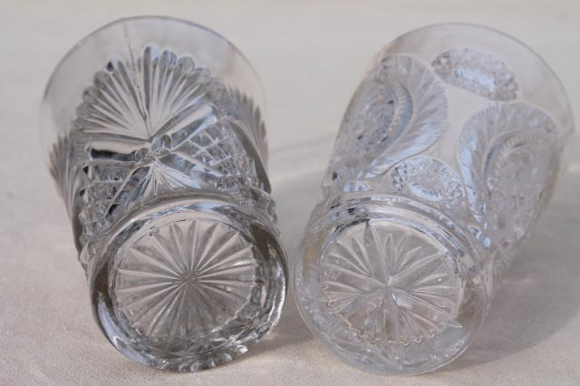 collection of antique & vintage pressed pattern glass tumblers, cut glass patterns