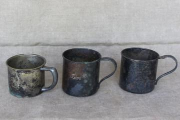 collection of antique vintage silver plate baby cups, small engraved mugs