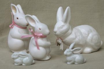 collection of china bunny rabbit figurines, family of little white bunnies & Dept. 56 Easter decorations