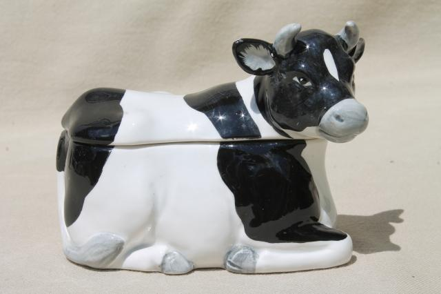 collection of cows, vintage ceramic jam pots cow herd, holsteins & little brown jersey