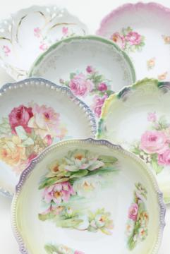 collection of mismatched antique china serving bowls w/ hand painted roses florals