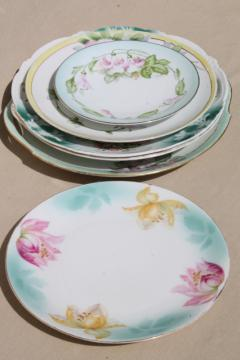 collection of mismatched flowered china plates, antique vintage floral pattern dishes