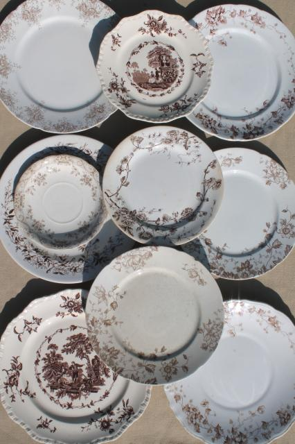 Collection Of Old Antique Brown Transferware Ironstone
