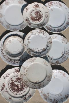 collection of old antique brown transferware ironstone china plates in mismatched patterns