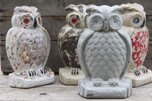 Stone Owl Garden Ornaments Collection of old cement owls owl doorstops or rustic garden ornaments workwithnaturefo