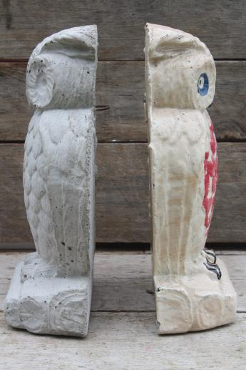 Collection Of Old Cement Owls Owl Doorstops Or Rustic Garden Ornaments
