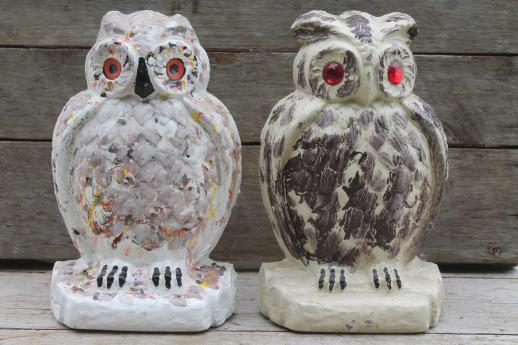 Collection of old cement owls owl doorstops or rustic garden ornaments - Cement cloth garden ornaments ...