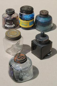 collection of old glass ink bottles, vintage advertising label bottle lot