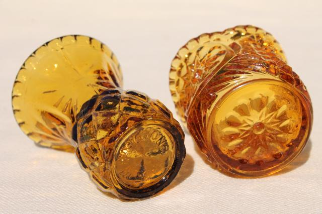 collection of pressed glass toothpicks or match holders, amber & crystal clear glass