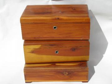 collection of small cedar chests, lot of old wood jewelry boxes