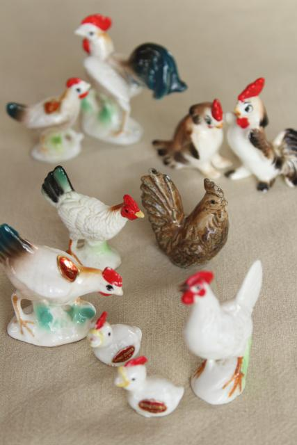 collection of tiny vintage chickens, bone china miniature animals hens chicks roosters