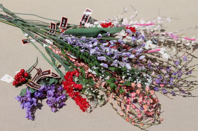 Collection Of Vintage China Silk Flowers Floral Stems With Tiny