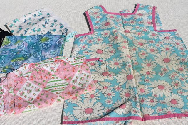 collection of vintage aprons, retro prints and colors, pinafore, kitchen smock & half aprons
