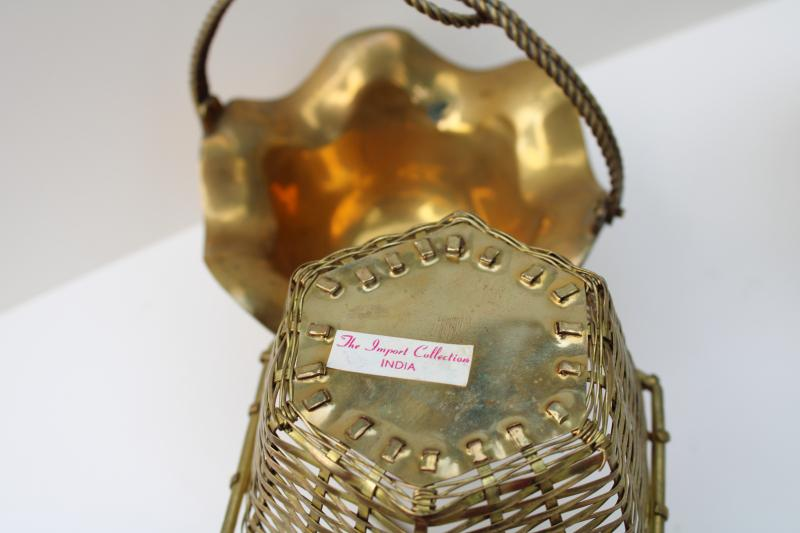 collection of vintage brass baskets - nice for planters & candle holders