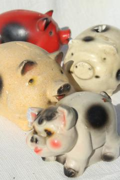 collection of vintage chalkware pigs, 1930s 40s carnival prize piggy banks