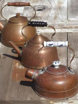 collection of vintage copper kettles, whistling tea kettle & teapots