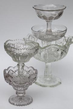 collection of vintage crystal clear glass compote bowls, candy dishes, dessert stands