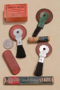collection of vintage desk / office typewriter supplies, rubber eraser wheel brushes etc.