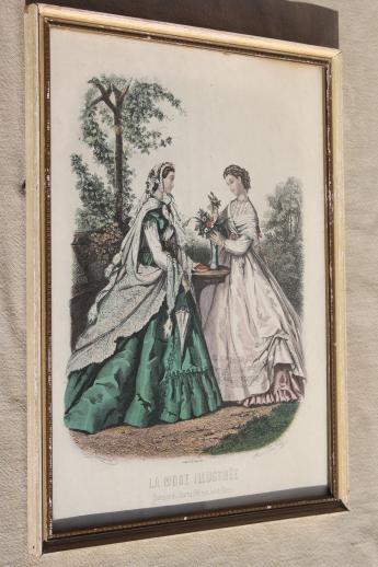 Collection Of Vintage Framed Godey Girls Antique Ladies